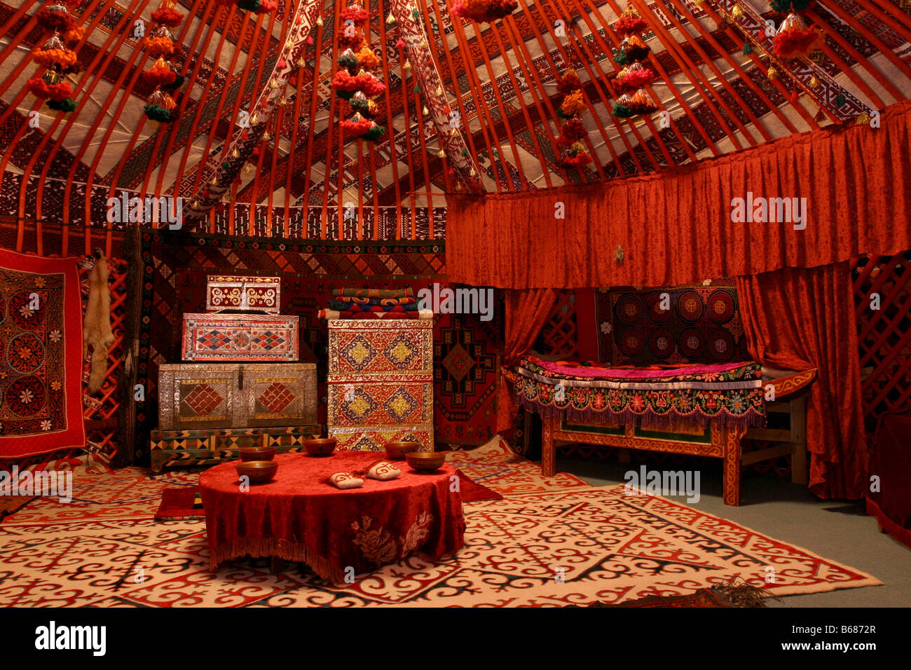 Merveilleux Internal Furniture Of Yurt National Kazakh Dwelling Astana City Kazakhstan