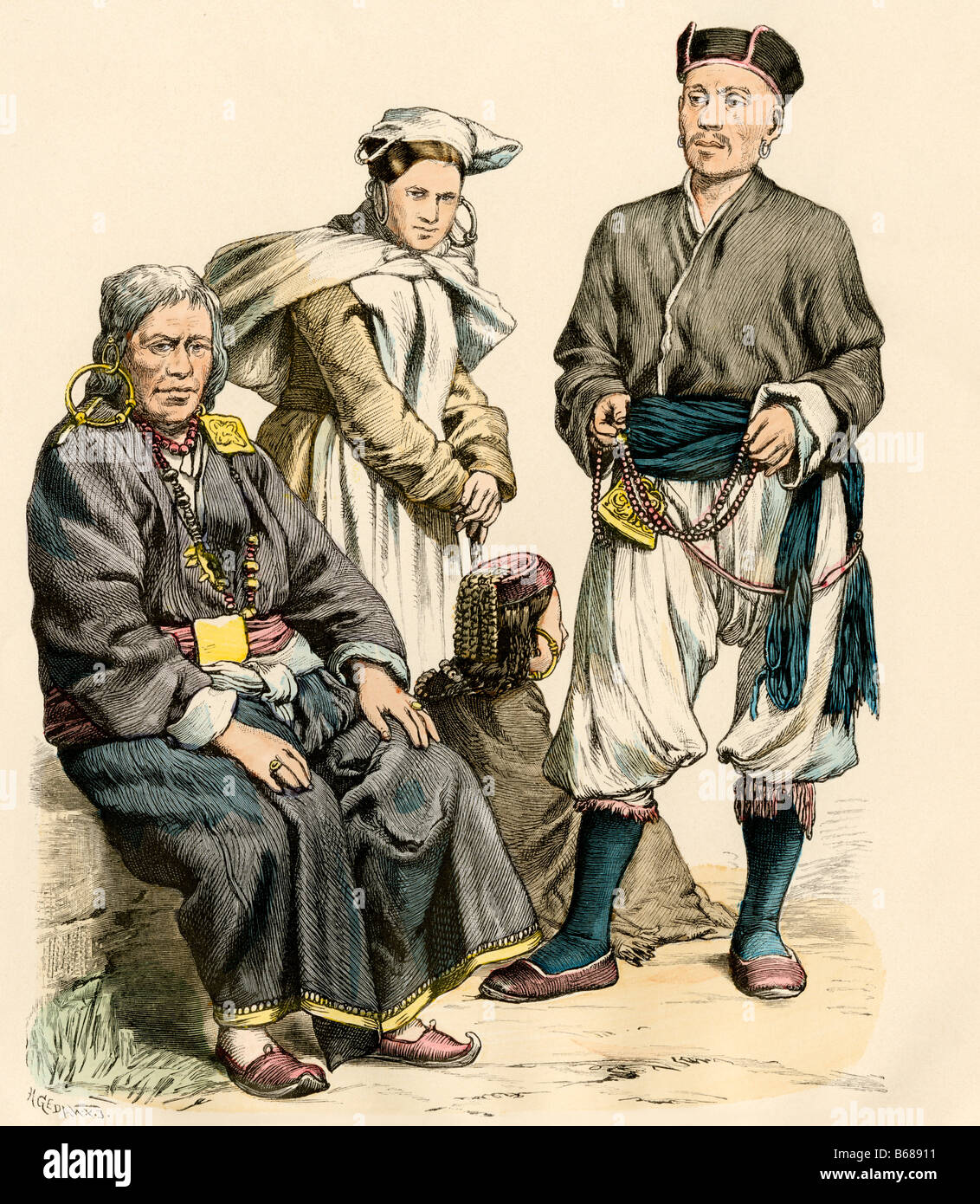 People of Tibet including a lama from Lhasa right in traditional attire. Hand-colored print - Stock Image
