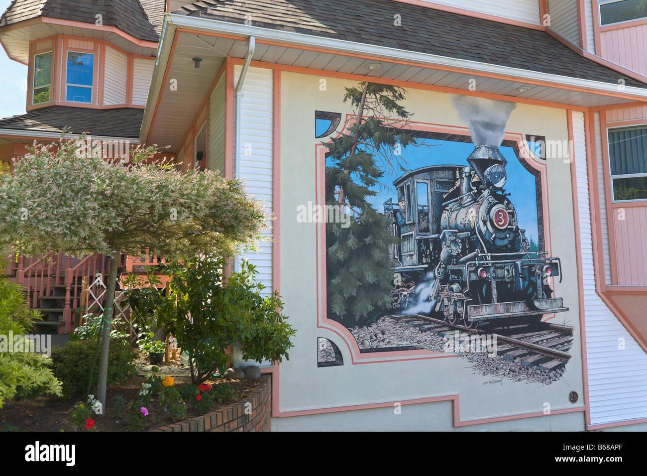 Painted wall murals Chemainus Vancouver Island British Columbia