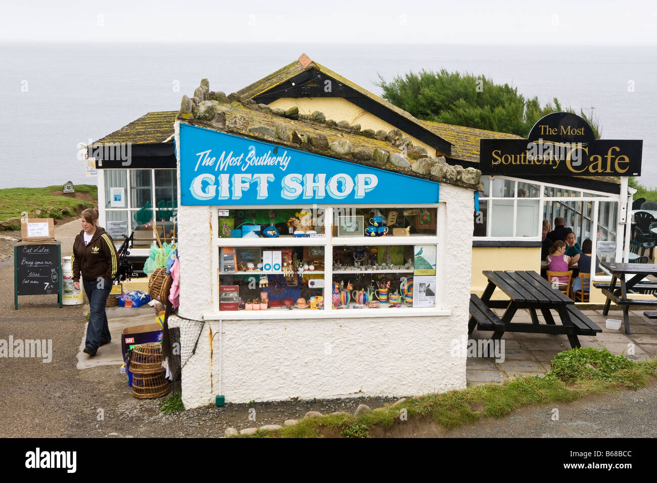 The most southerly gift shop and the most southerly cafe in England (Lizard Point, Cornwall) - Stock Image