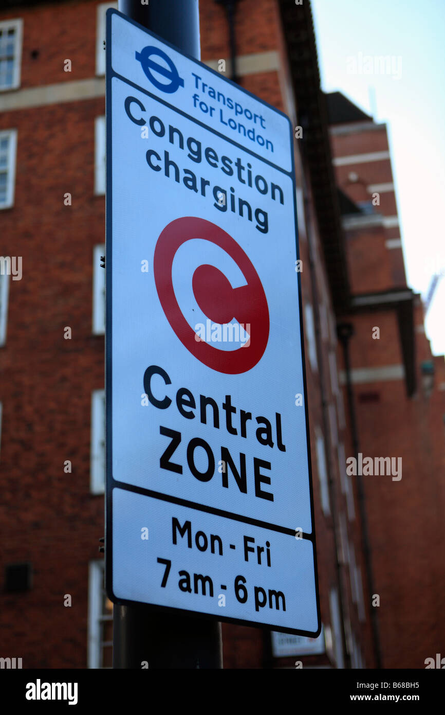 united kingdom london marylebone road a congestion charging central zone sign - Stock Image
