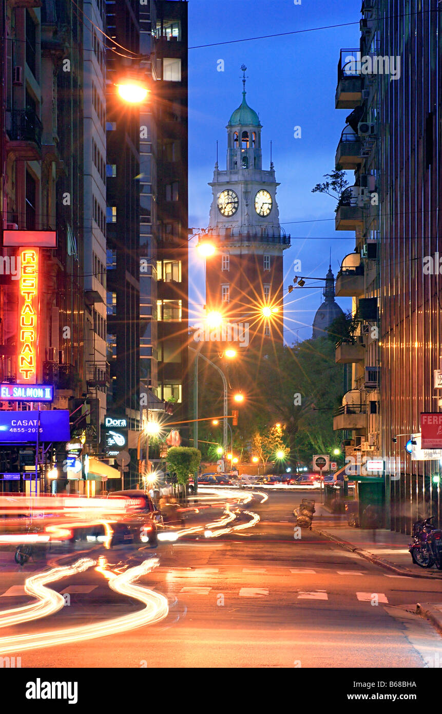 'Monumental Tower' seen from Downtown street at dusk. Downtown, Buenos Aires, Argentina. - Stock Image