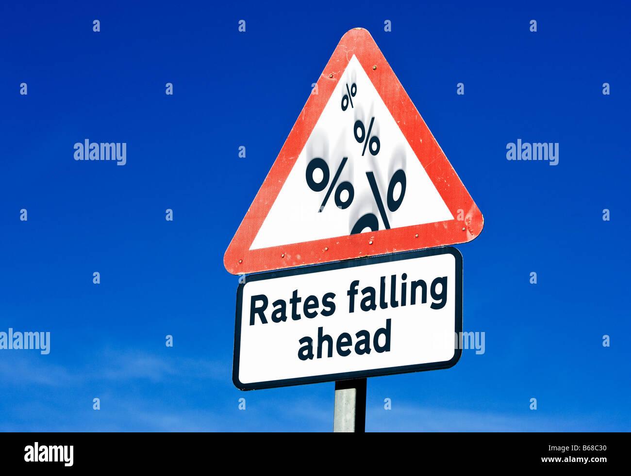 Interest Rates falling England UK - Stock Image