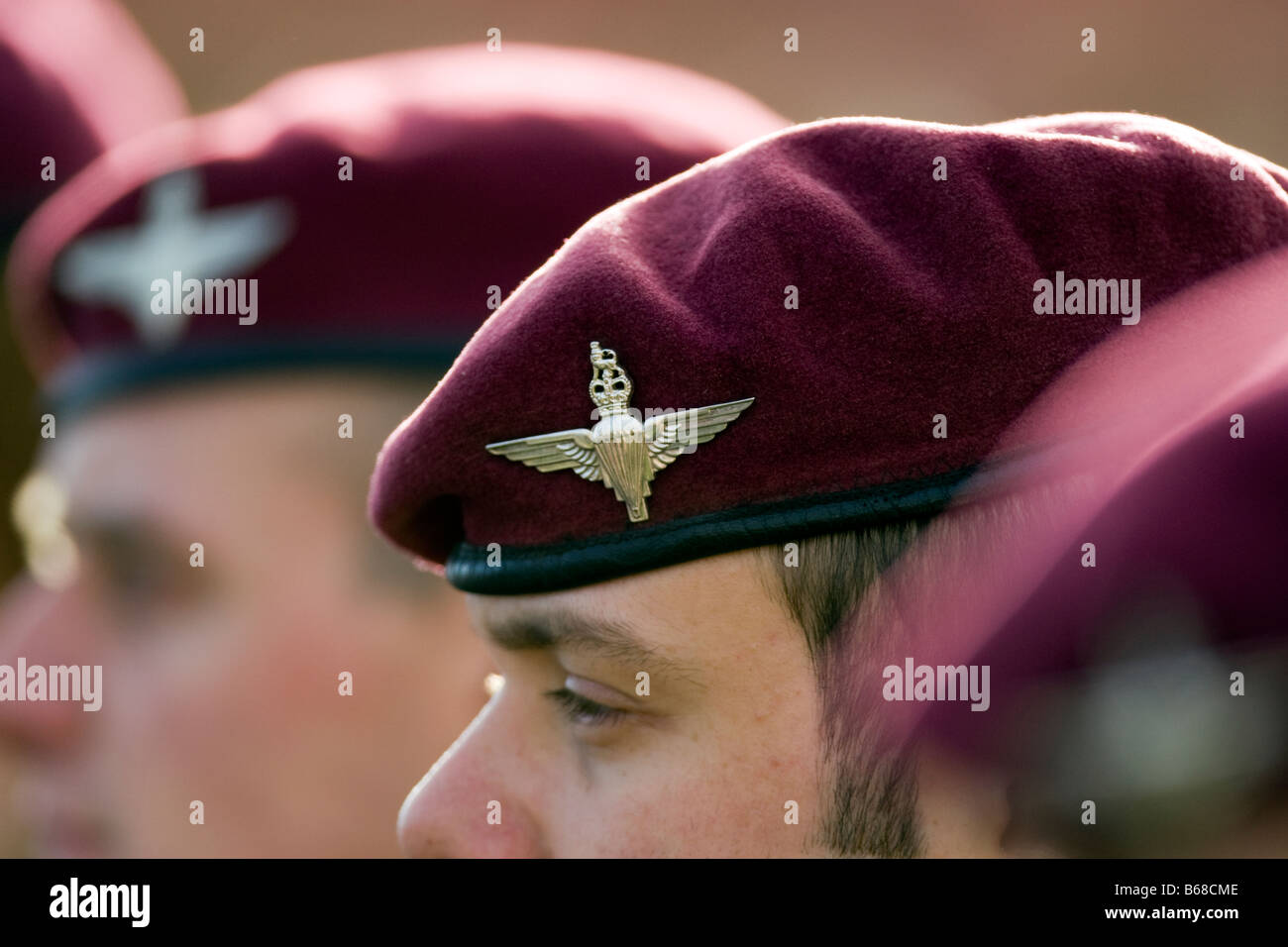 Members of the British Army's elite Parachute Regiment on parade in Melville Barracks Colchester Garrison - Stock Image
