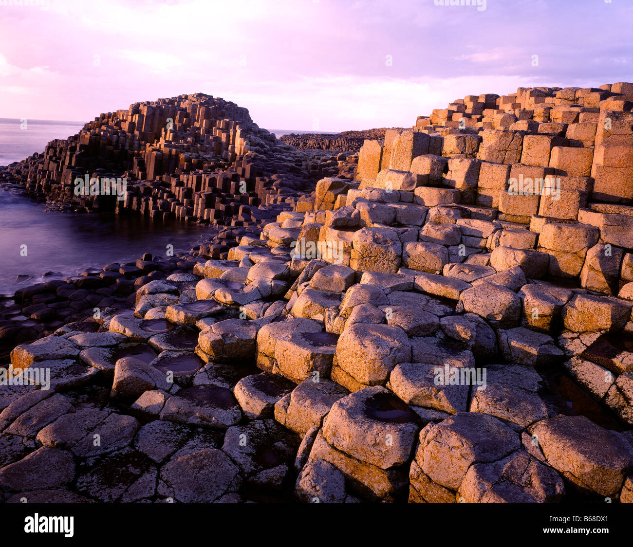 Giants Causeway, Northern Ireland, United Kingdom, Giants Causeway National Park September County Antrim basalt - Stock Image