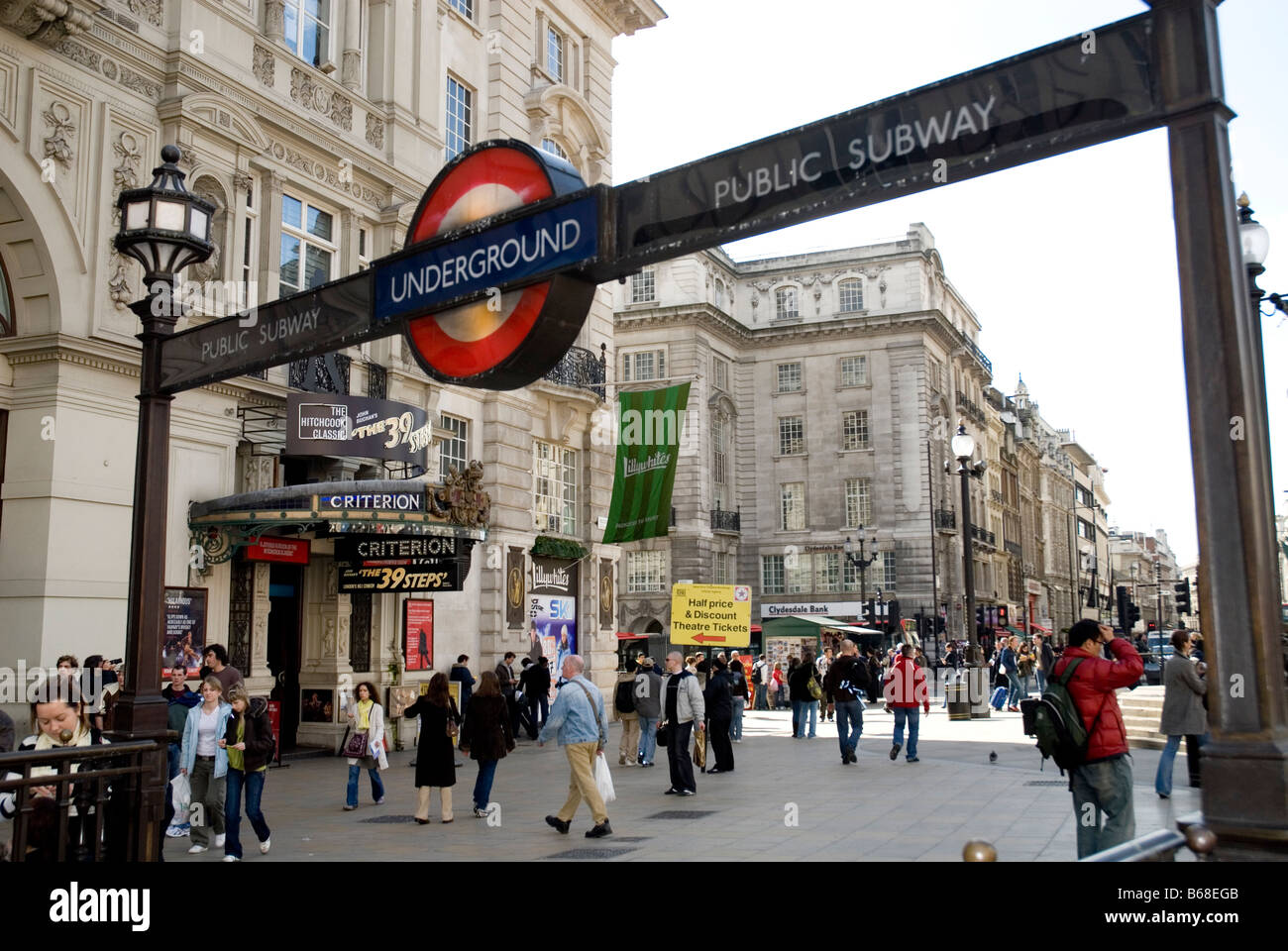 Underground subway entrance at Piccadilly Circus, London Stock Photo