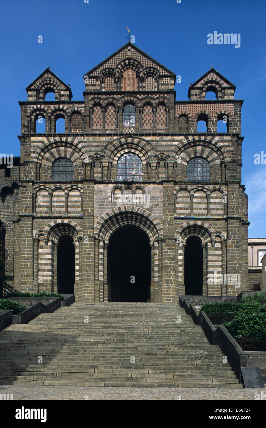 West facade of the Romanesque-Byzantine Notre-Dame Cathedral (c12th), Le Puy-en-Velay, France - Stock Image