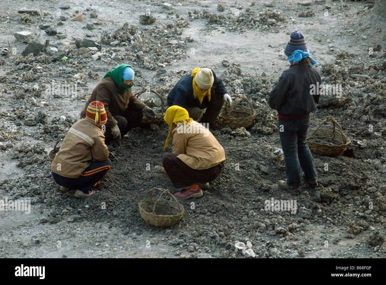 Picking for waste coal at Taihuai, Wutaishan, Shanxi , China - Stock Image