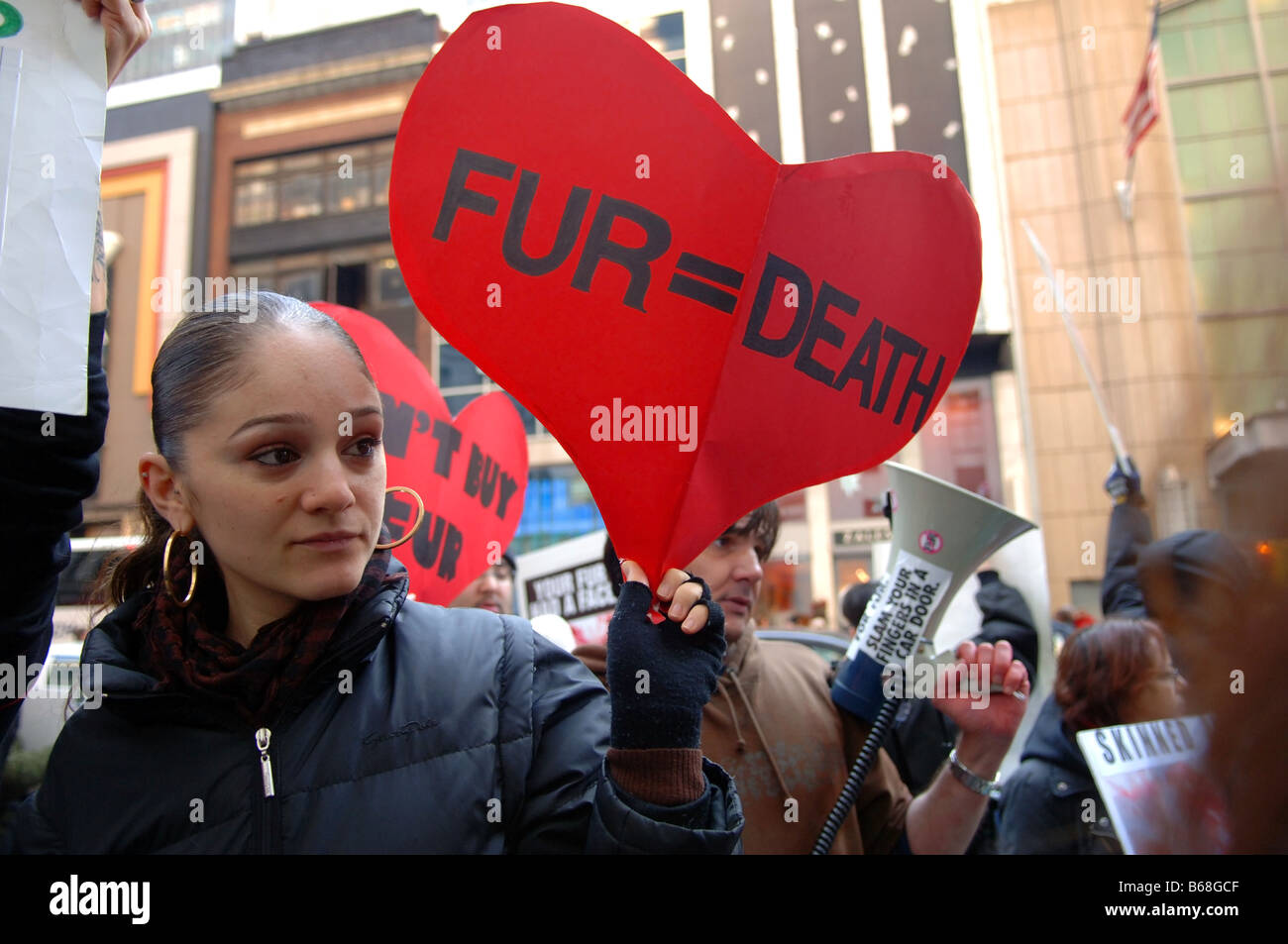 Animal rights activists protest the use of fur on Black Friday traditionally known as Fur Free Friday in New York Stock Photo