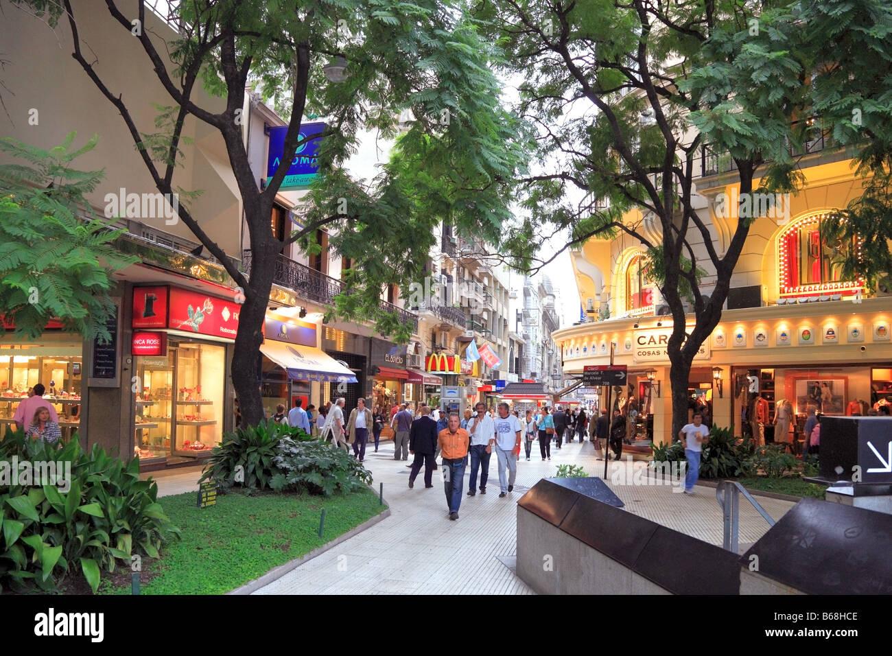 Florida pedestrian Street, near Plaza San martin Square. Retiro, Buenos Aires, Argentina. - Stock Image