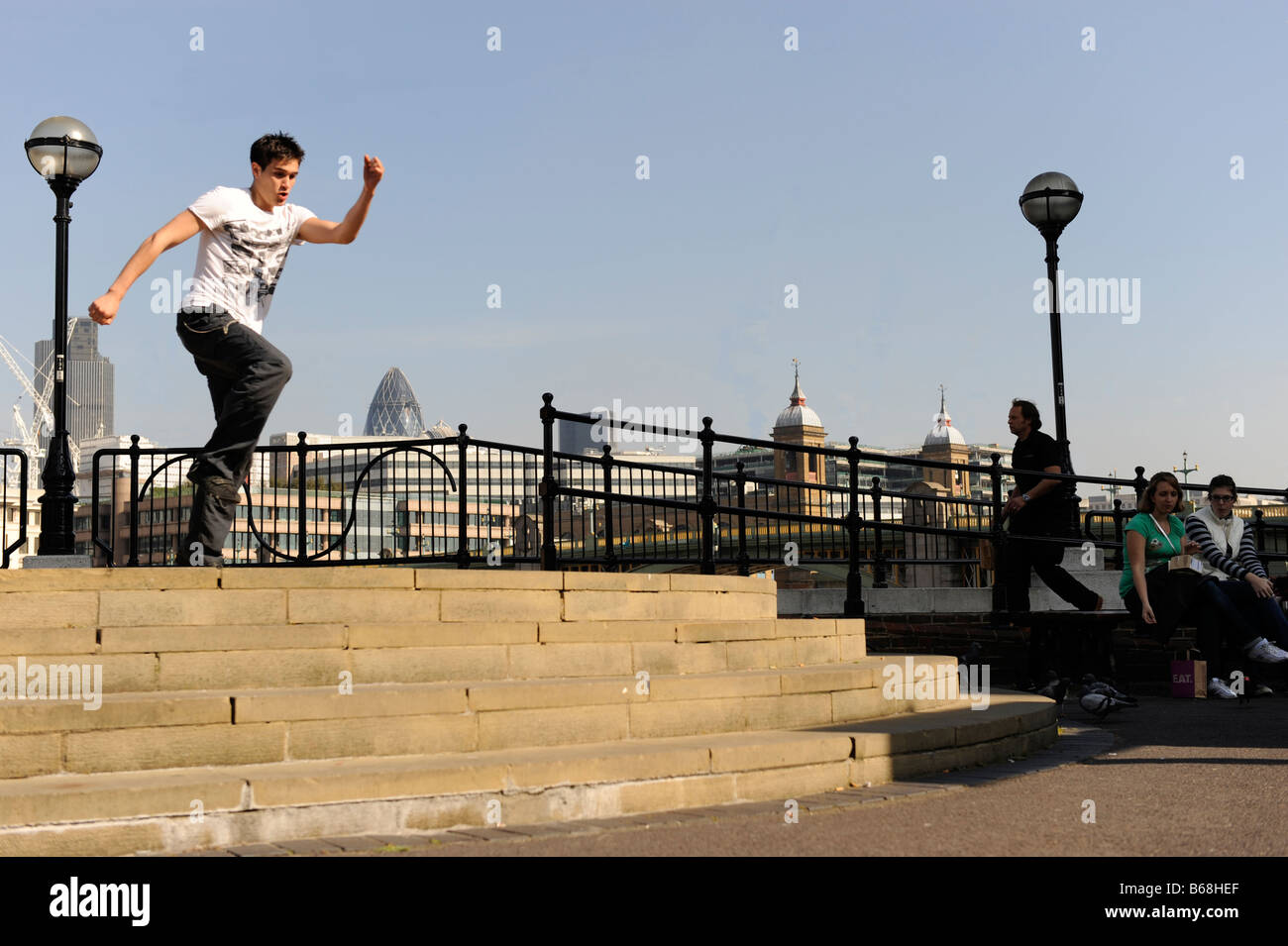 Running over stairs - Stock Image