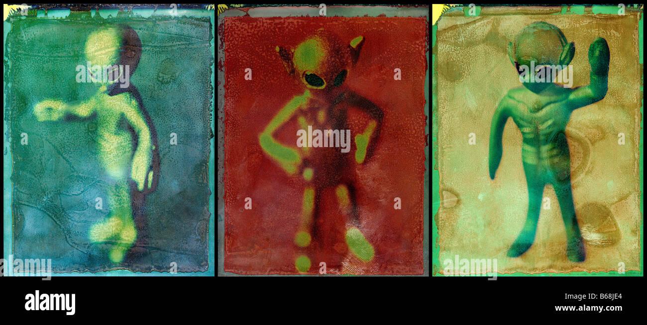Alien Triptych aliens ©mak - Stock Image