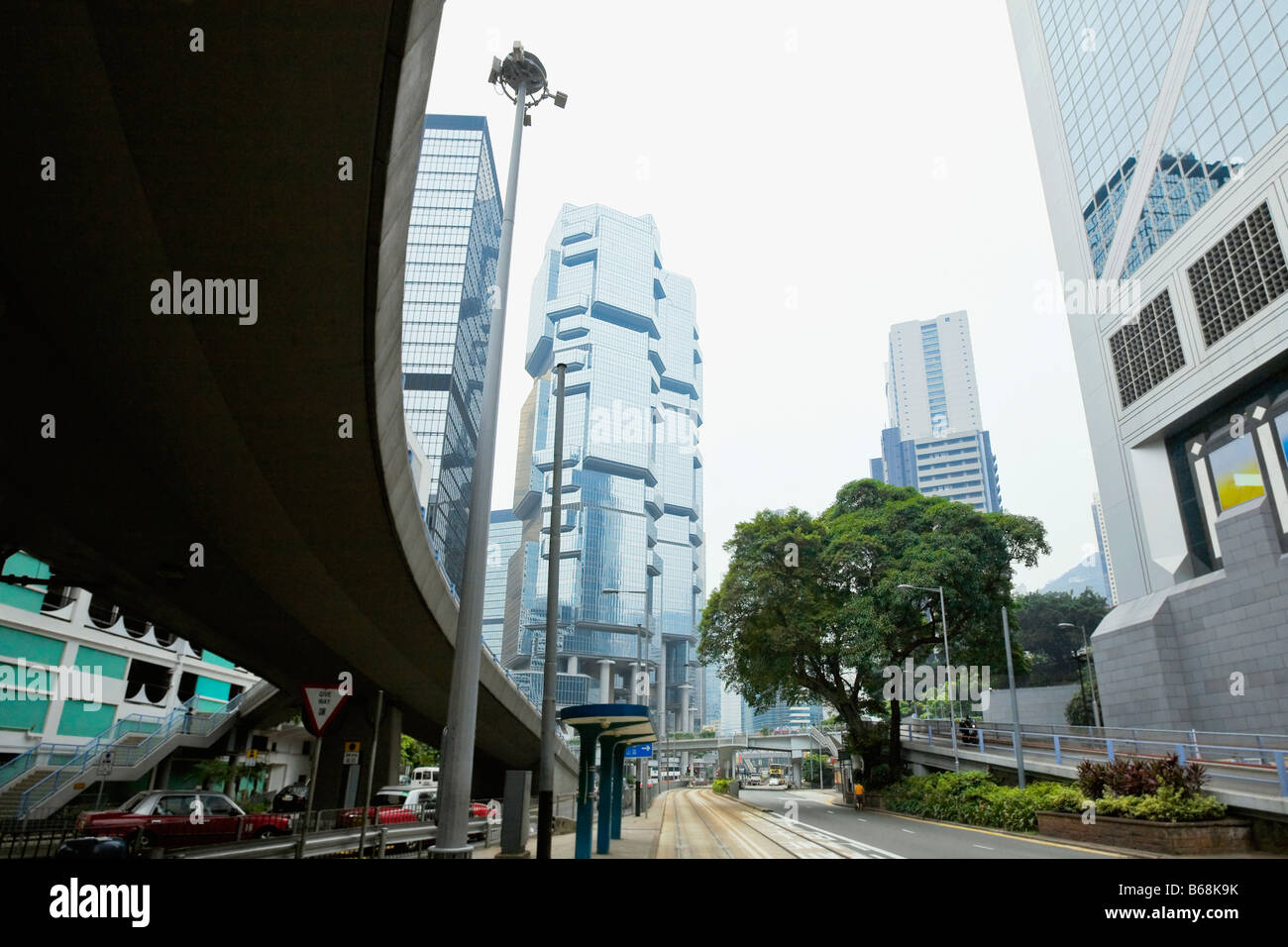 Low angle view of skyscrapers in a city, Des Voeux Road, Hong Kong Island, China - Stock Image
