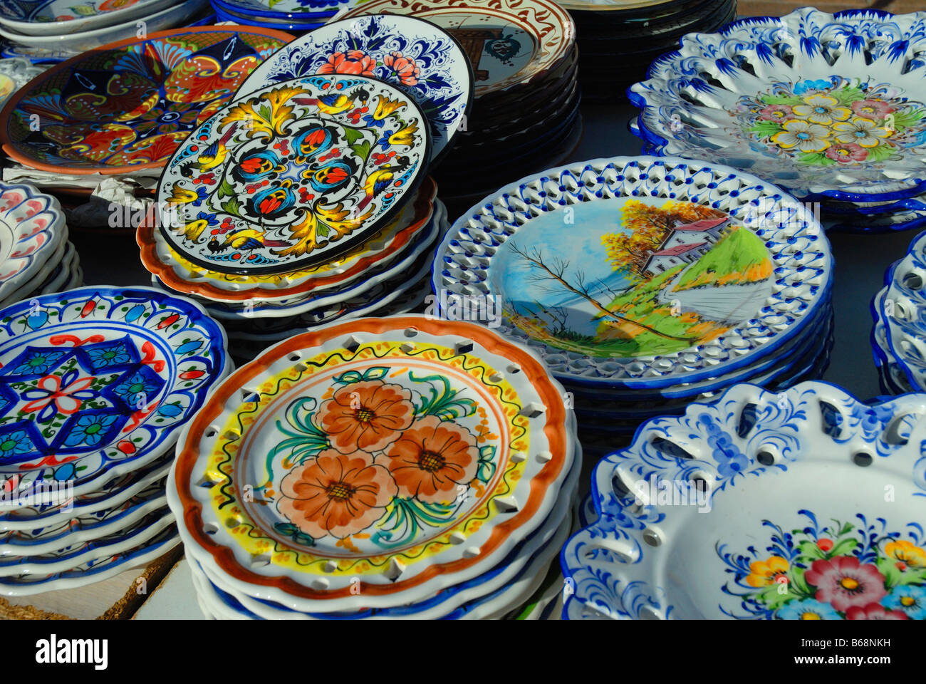 Pottery on the lively Spanish Market of Fuengirola Andalucia Spain & Pottery on the lively Spanish Market of Fuengirola Andalucia Spain ...