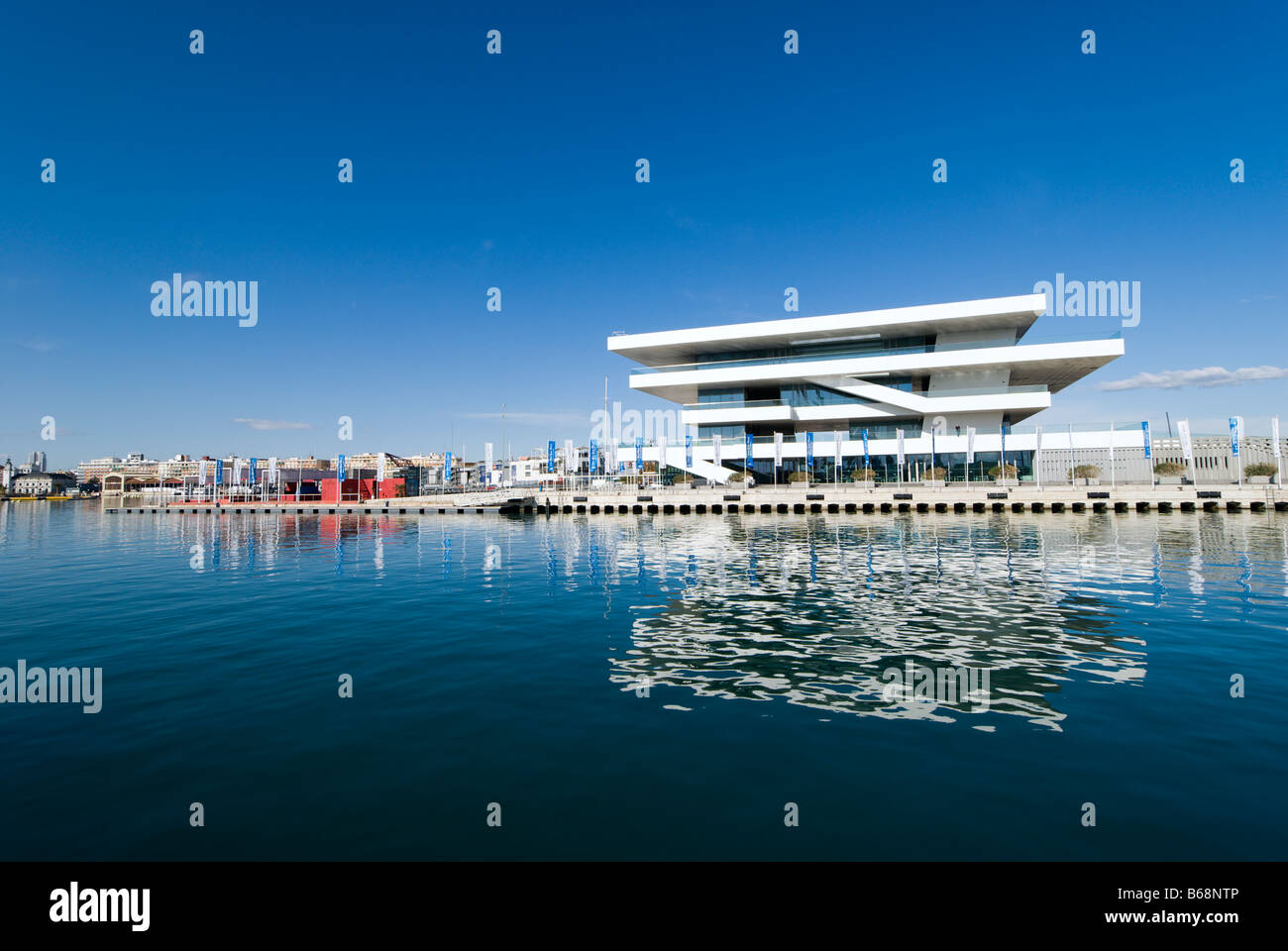 America s Cup Pavilion Veles e Vents or Sails Winds in the port of Valencia designed by David Chipperfield architects - Stock Image