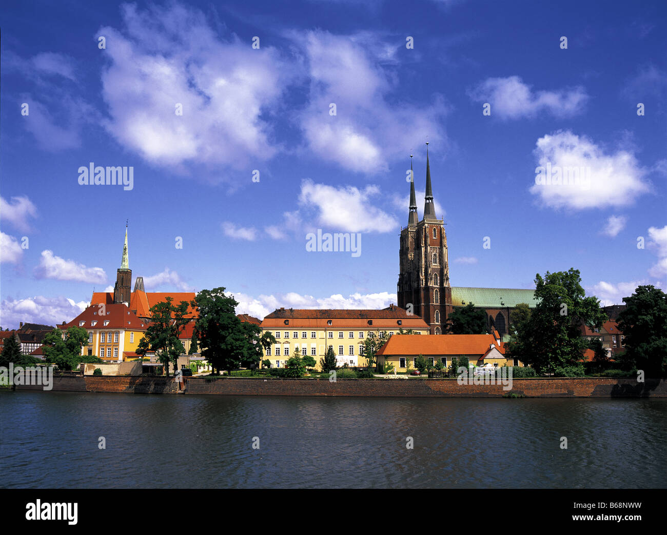Cathedral and River Oder Wroclaw (Breslau) Poland Stock Photo
