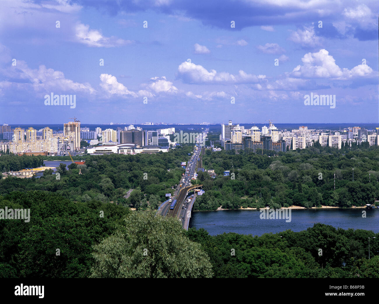 View of Dnieper River and city from Vichinoyi Slavy Park, Kiev, Ukraine - Stock Image