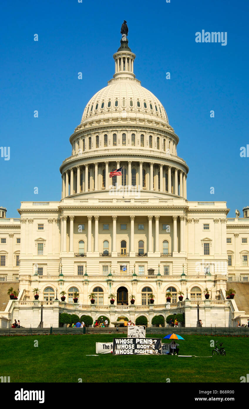 Protest action against the male genital mutilation through circumcision in front of the United States Capitol Washington - Stock Image