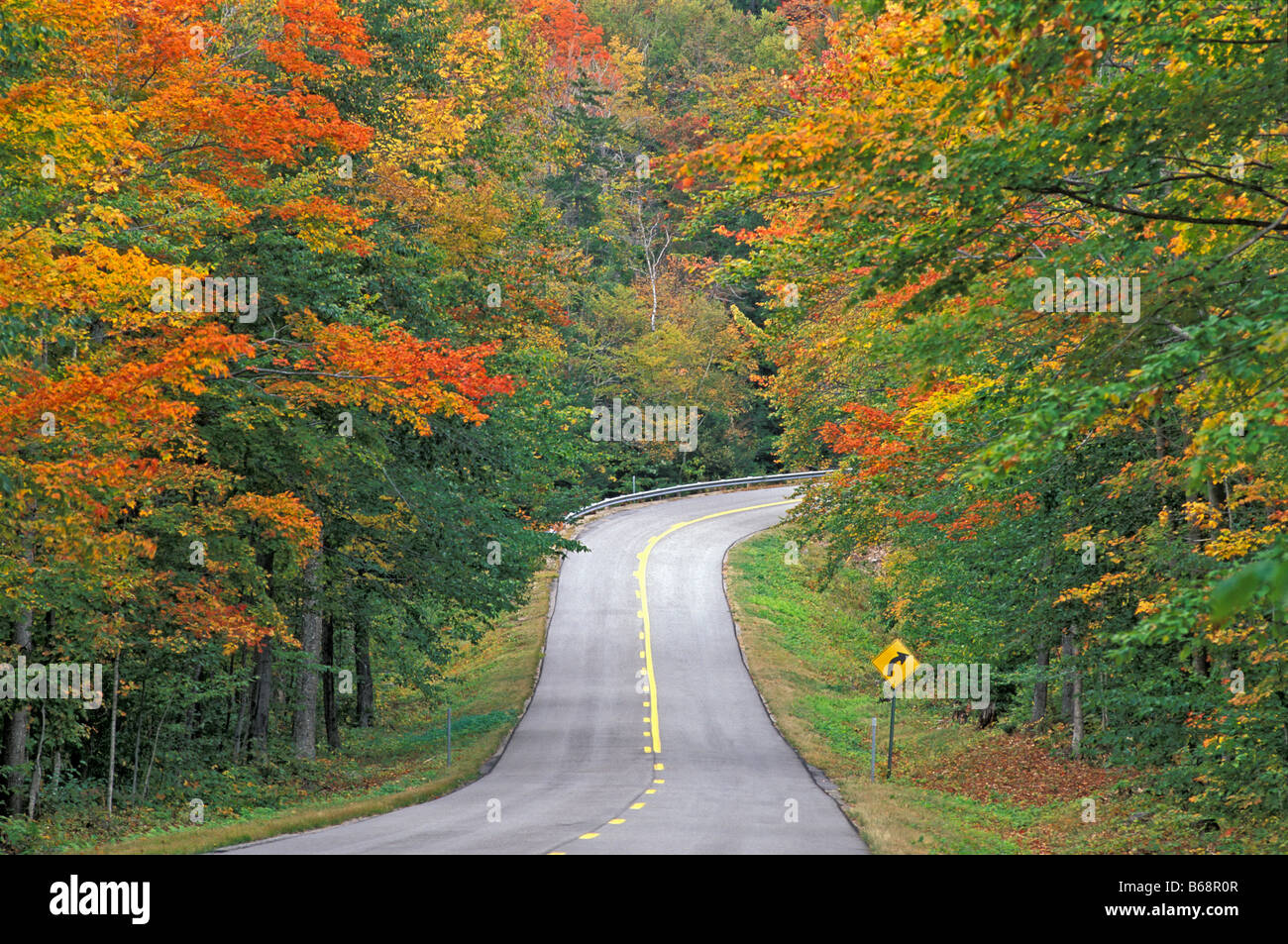 New England back road through tunnel of Fall colors White Mountain ...