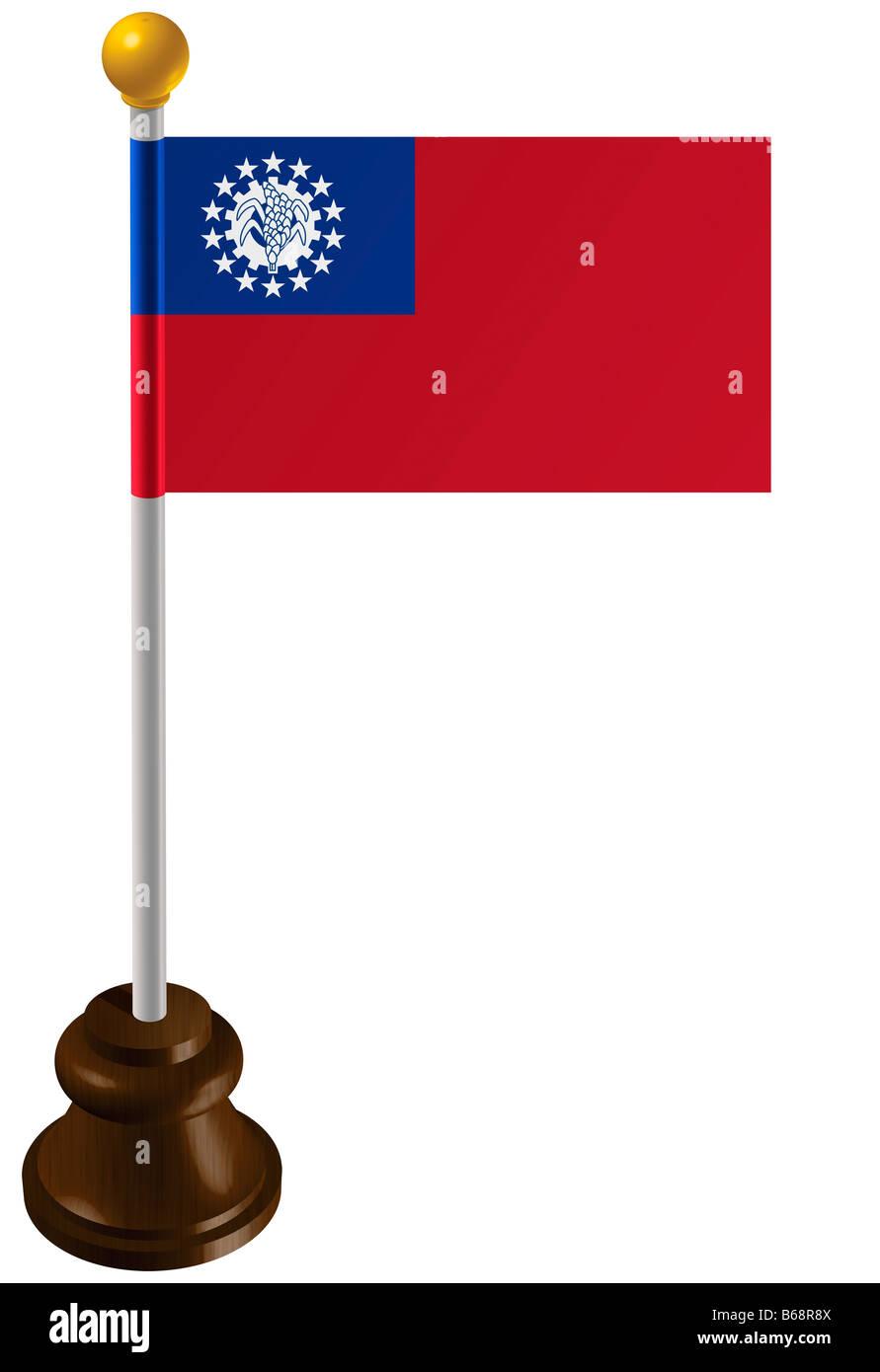 Burmese flag as a marker Stock Photo