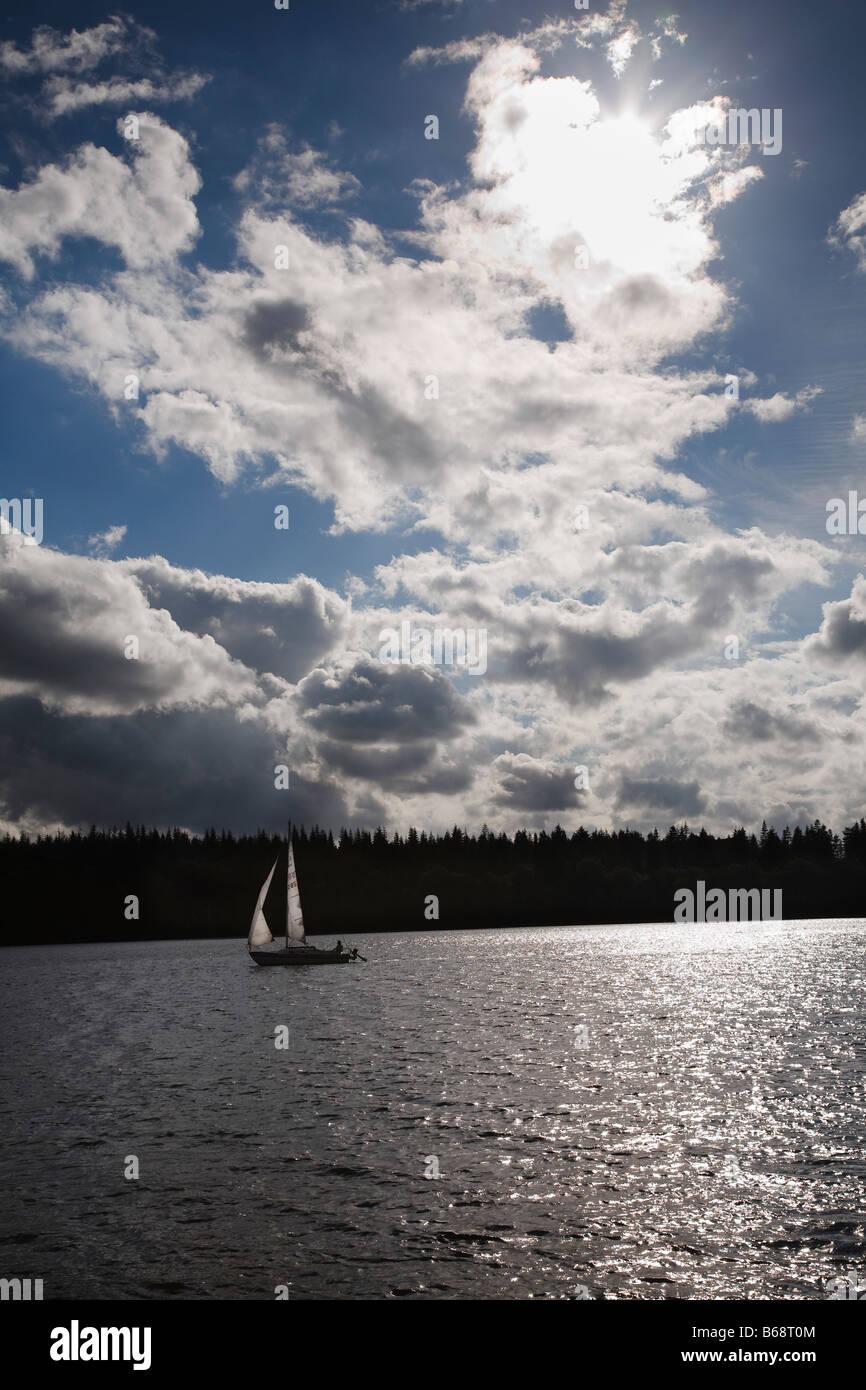 Yacht on Lake Brassø, near Sejs, Jutland, Denmark - Stock Image