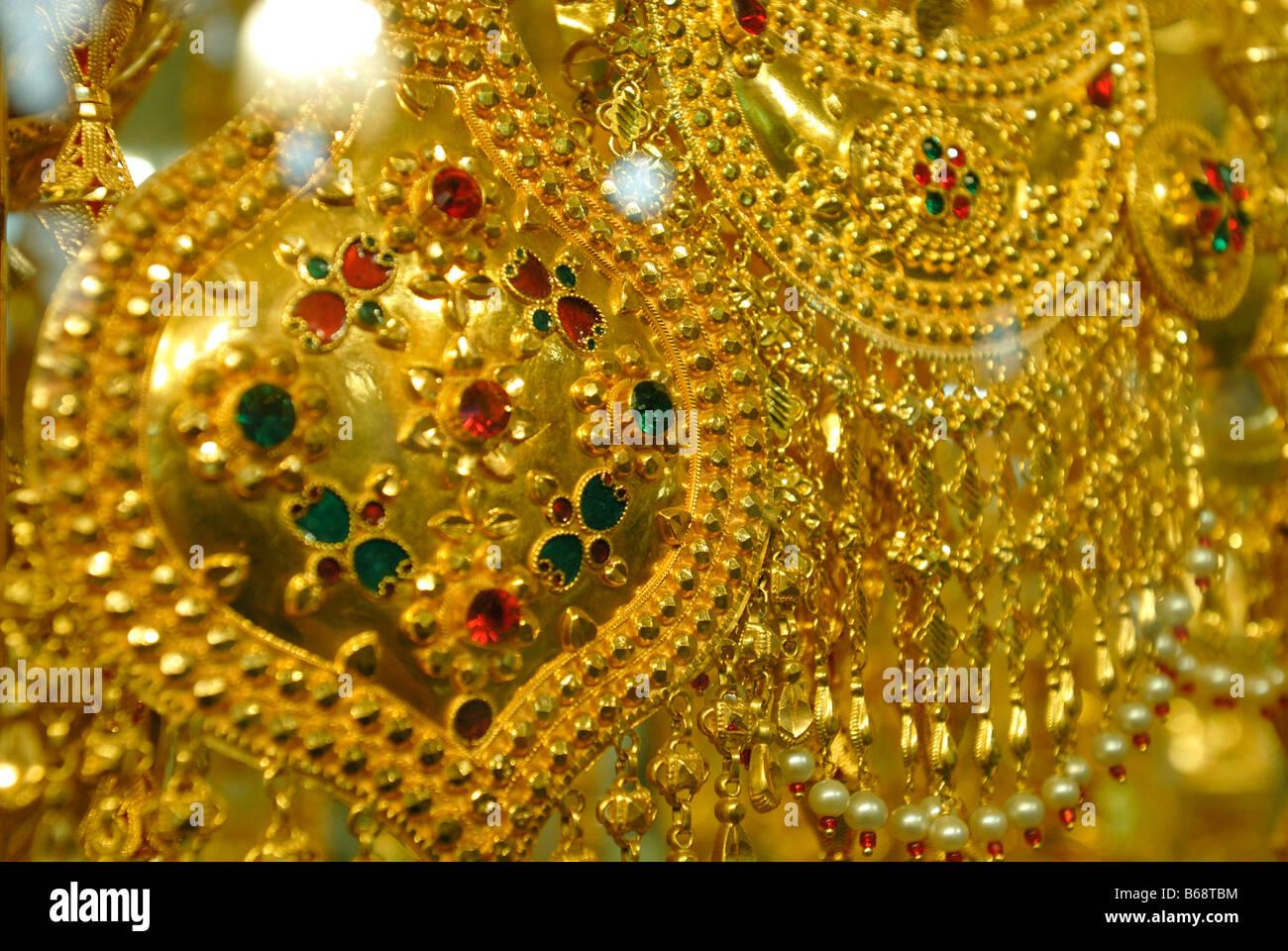 Jeweled necklaces in Gold Souk, Dubai, United Arab Emirates - Stock Image