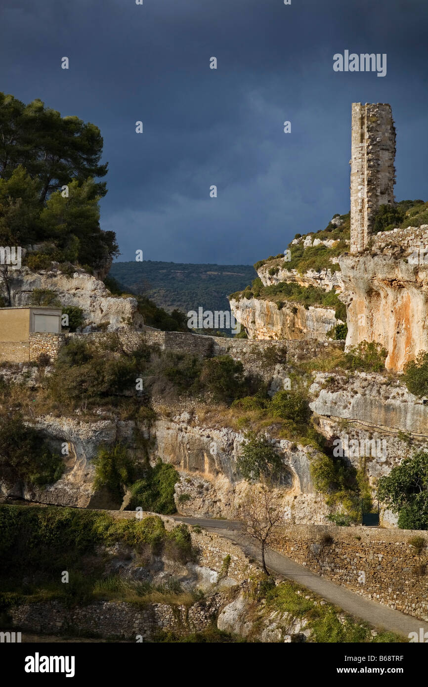 Candela - the remaining Tower of Cathar Fortress, Minerve, Languedoc-Roussillon, France - Stock Image