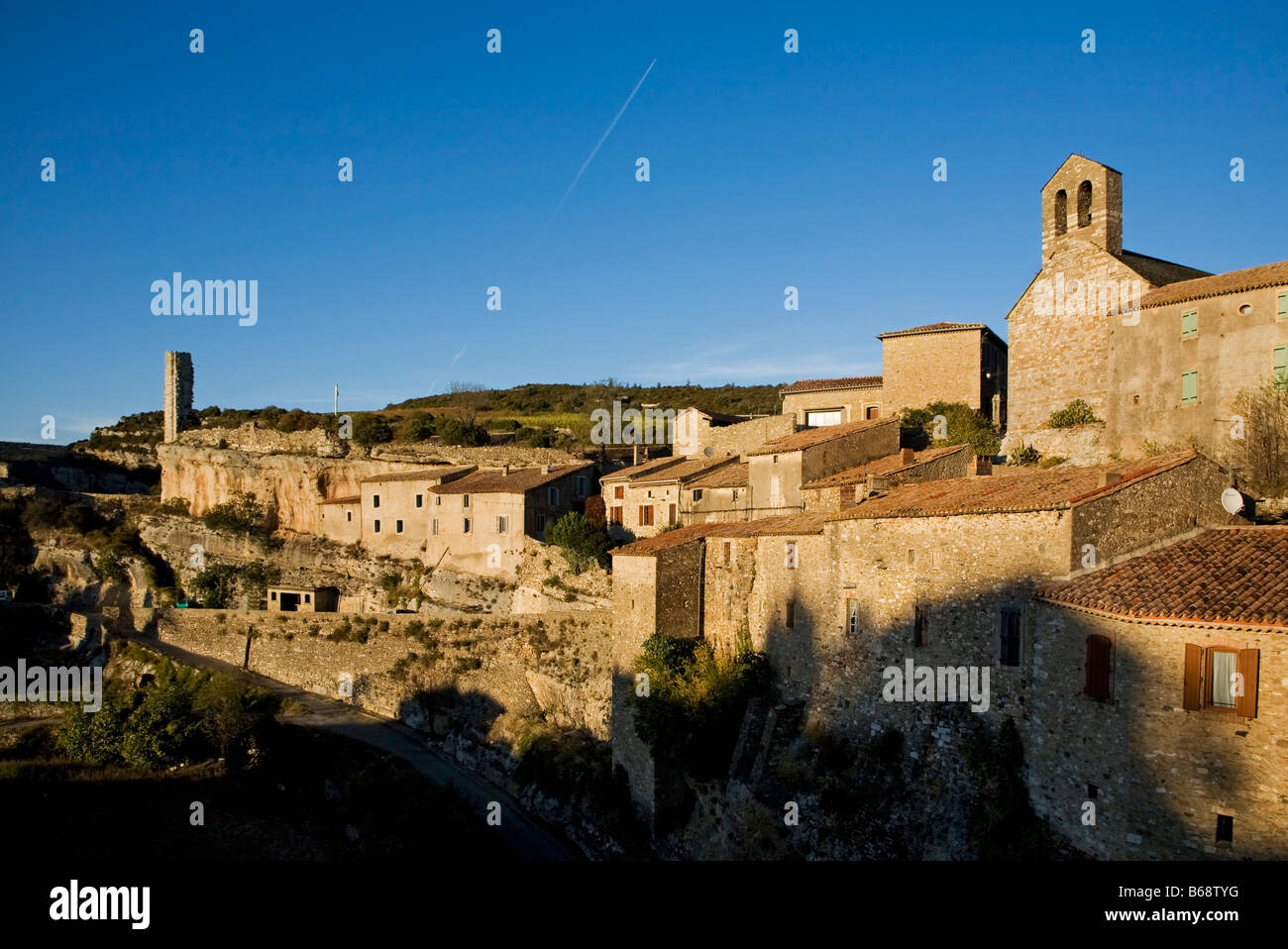 Candela Tower and Village, Minerve, Languedoc-Roussillon, France - Stock Image
