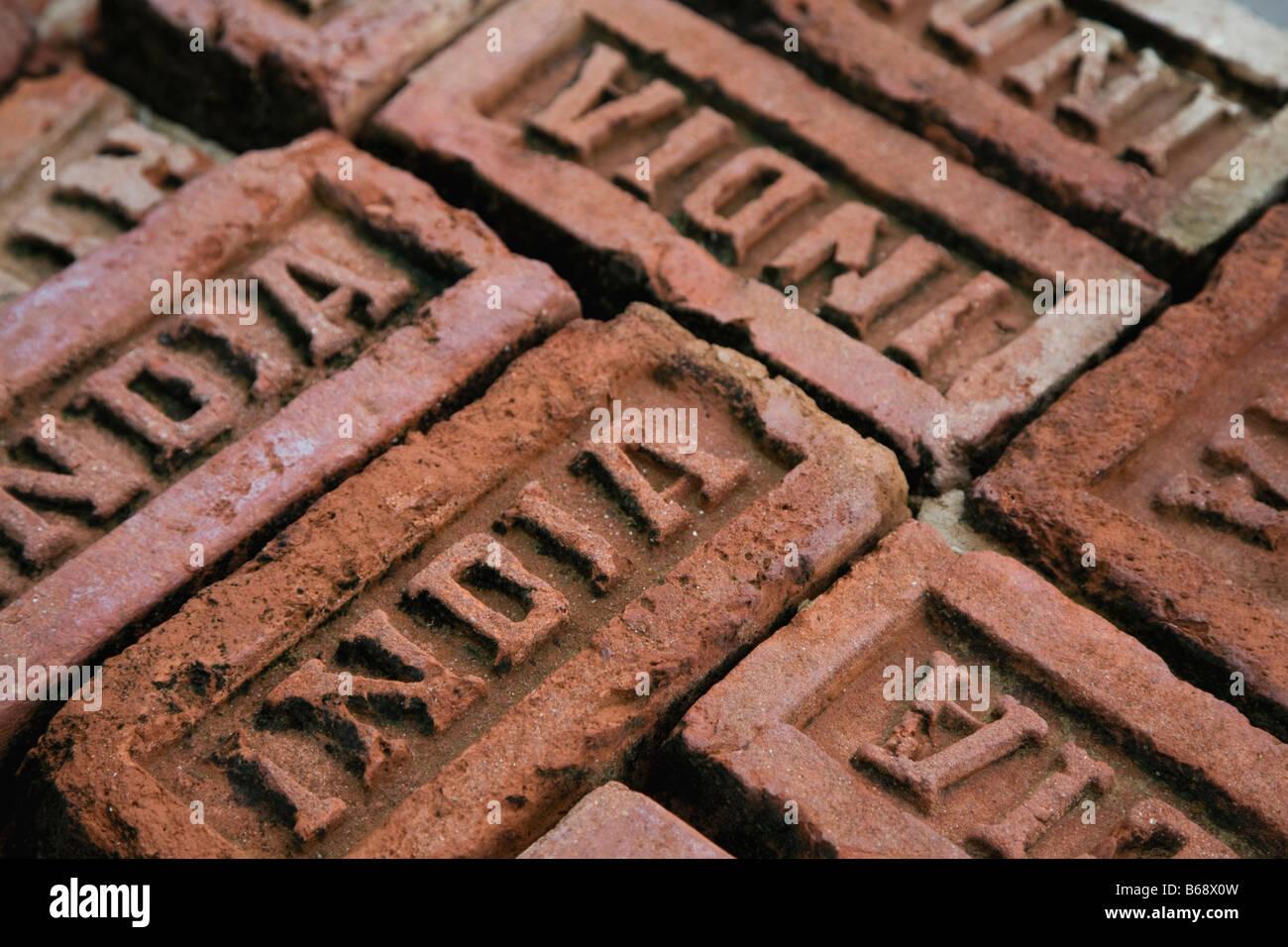 Bricks from India, full frame - Stock Image