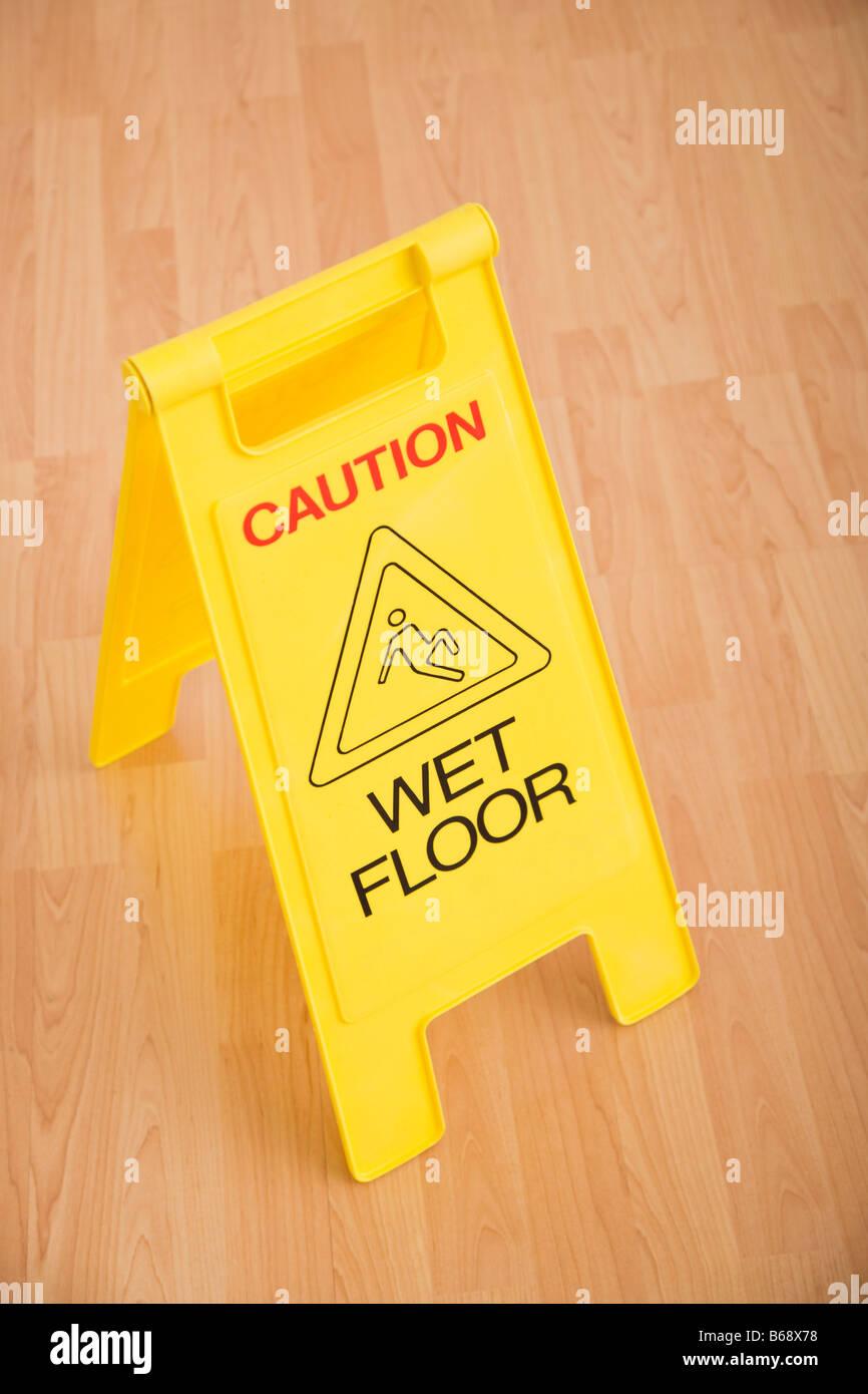 Wet floor warning sign Stock Photo
