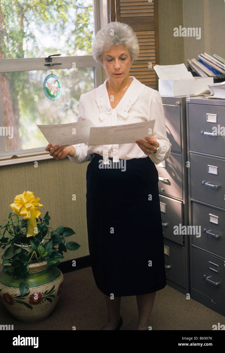 mature secretary reads file in stock photos & mature secretary reads