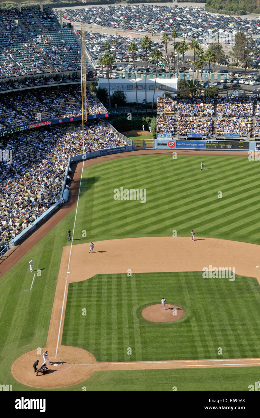 Packed stadium seating at the Dodger Stadium during game - Stock Image