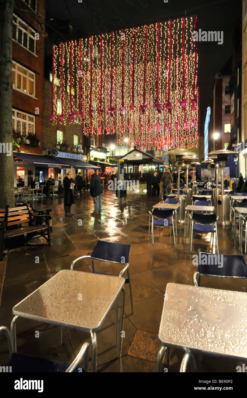 Christmas decorations St Christophers Place W1 shopping & eating out area off Oxford Street' in Londons - Stock Image