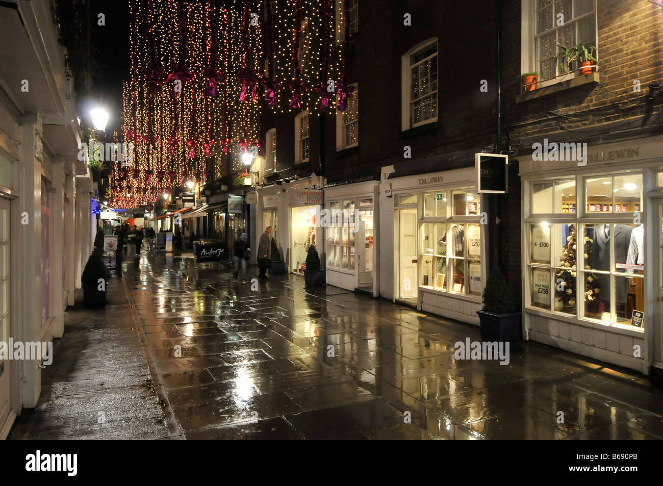 Christmas decorations St Christophers Place shopping & eating out area off 'Oxford Street' in Londons - Stock Image