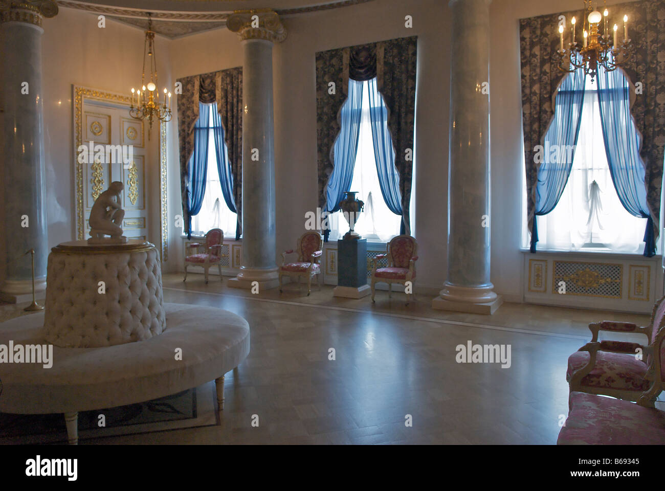 White Dining Room In Winter Palace St Petersburg