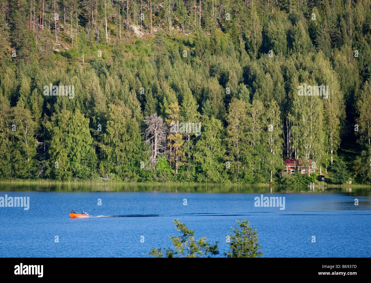 Boat at a lake , Finland - Stock Image