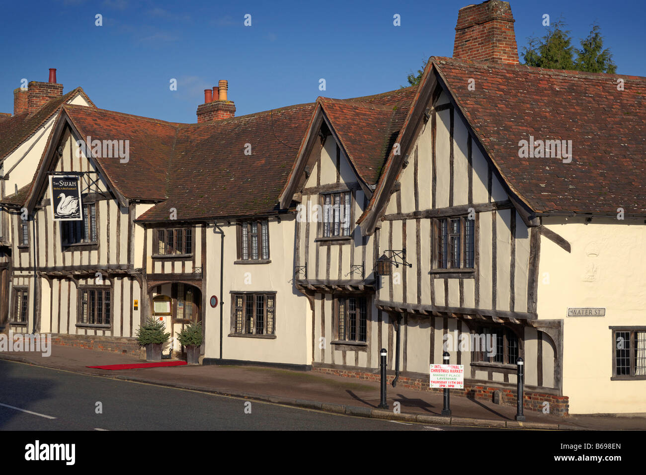 Swan Hotel and Restaurant Lavenham in December 2008 - Stock Image