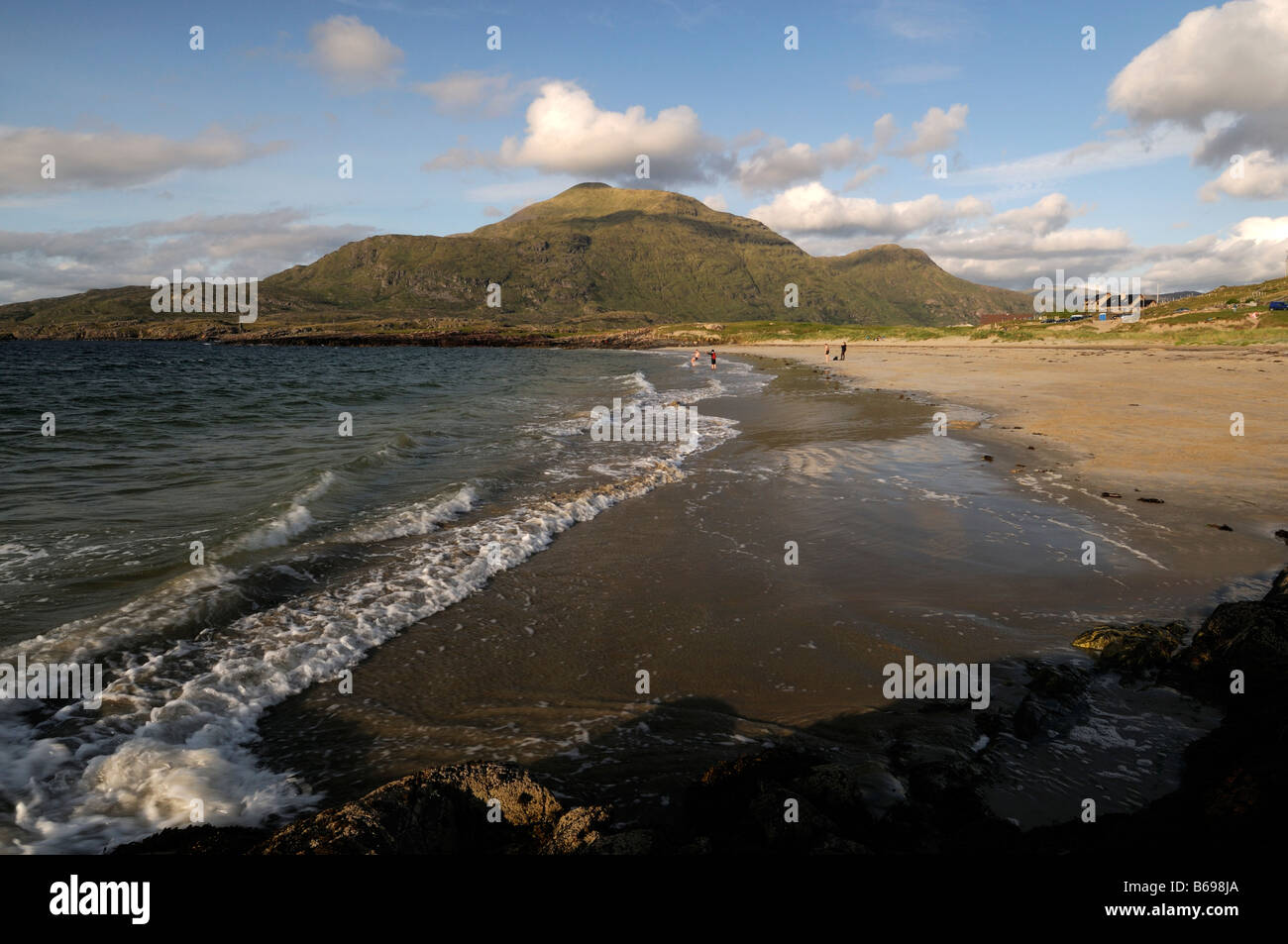 Connemara lettergesh beach with mweelrea mountains in the background  county galway west of ireland - Stock Image