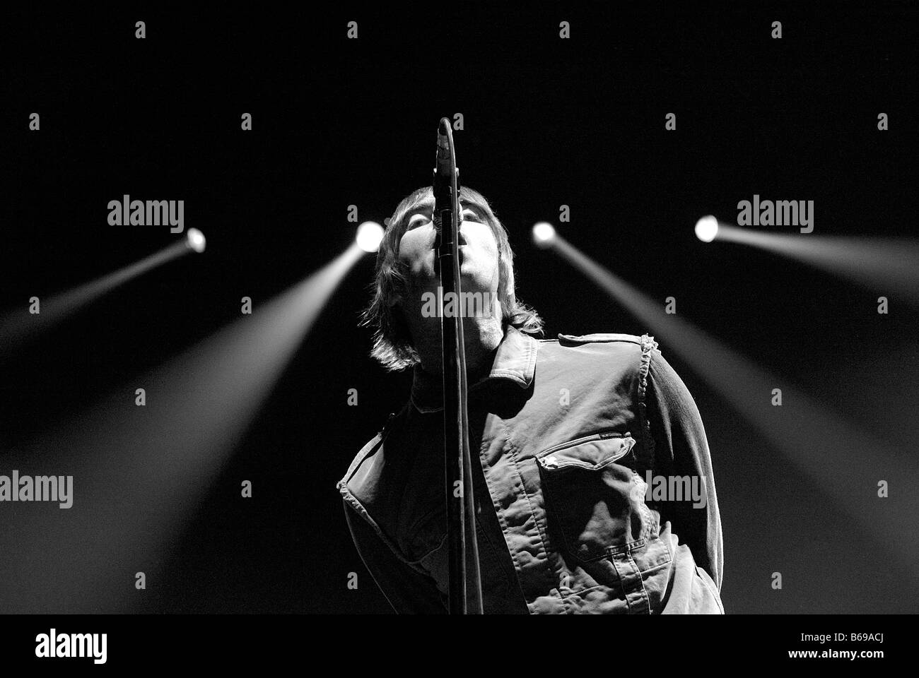 Liam Gallagher from Oasis in concert at the Odyssey Arena - Stock Image