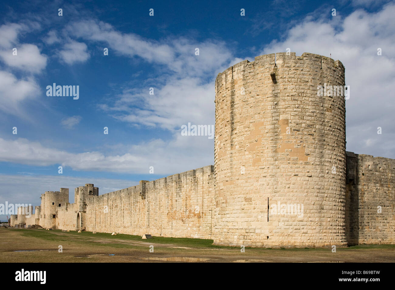 City Wall Aigues Mortes Camargue France Europe - Stock Image