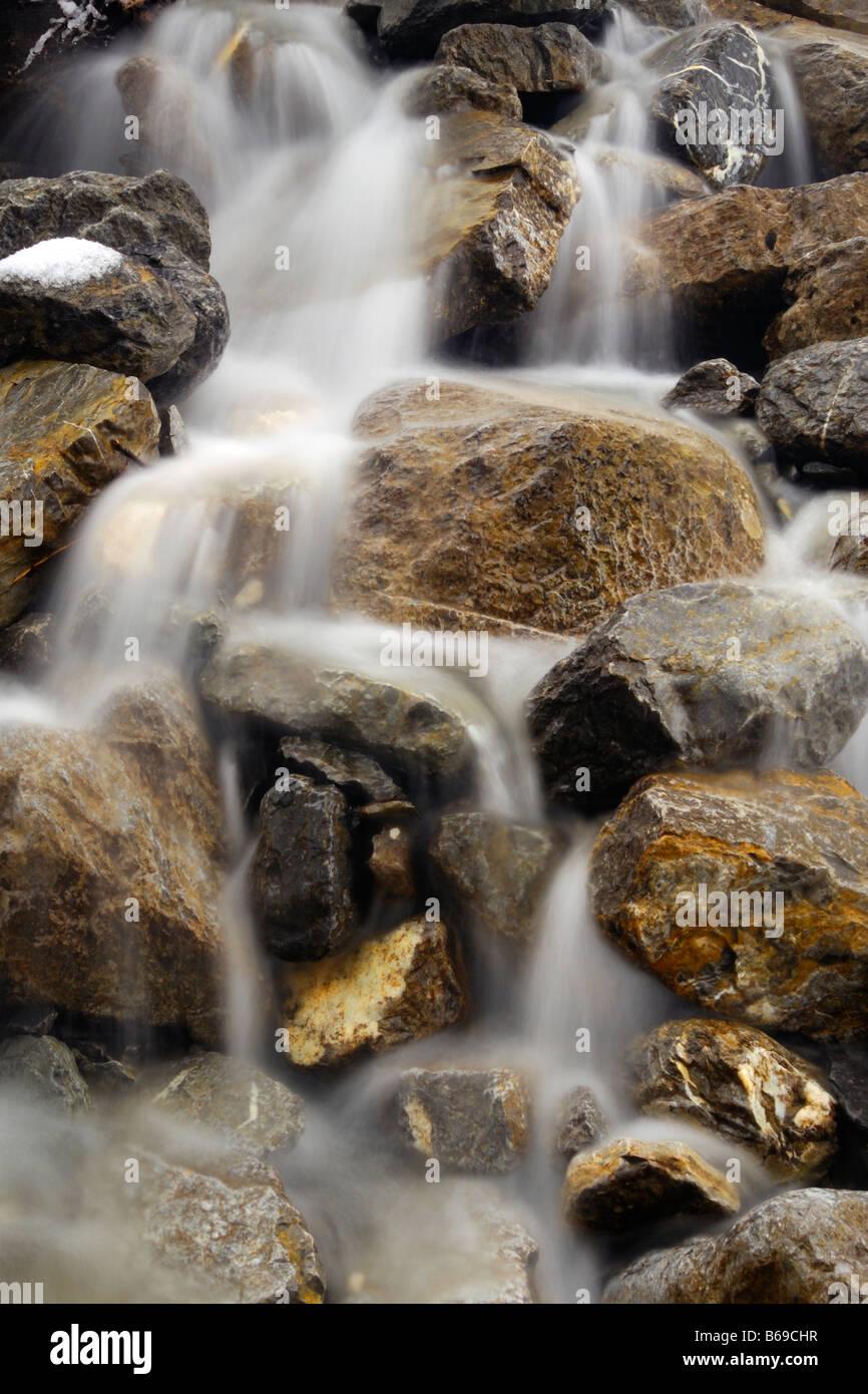 Winter runoff from Wilcox Pass in Jasper National Park Alberta Canada - Stock Image