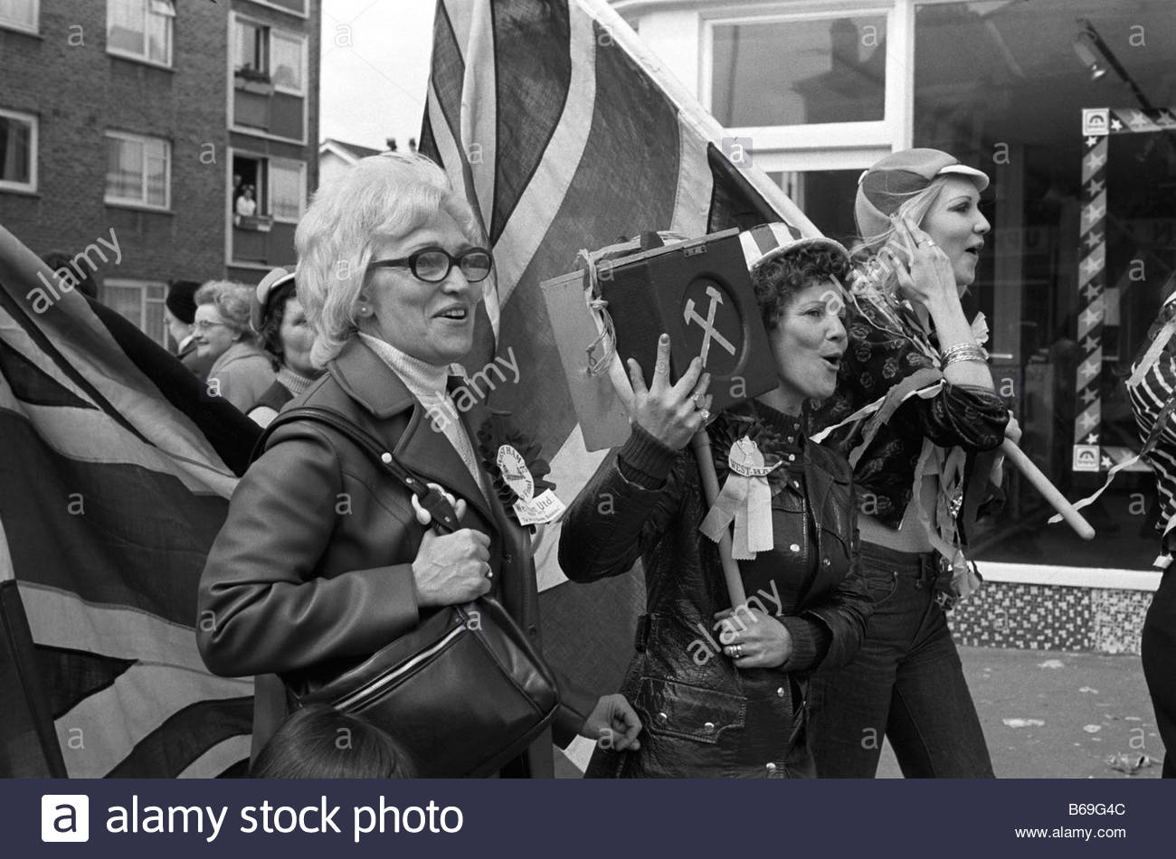 The English at play in the 1970s Part 2 West Ham football supporters Stock Photo
