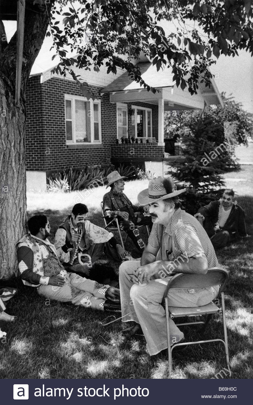 One year on the road in the USA during 1981 Resting clowns at Basque Festival in Elko Nevada - Stock Image