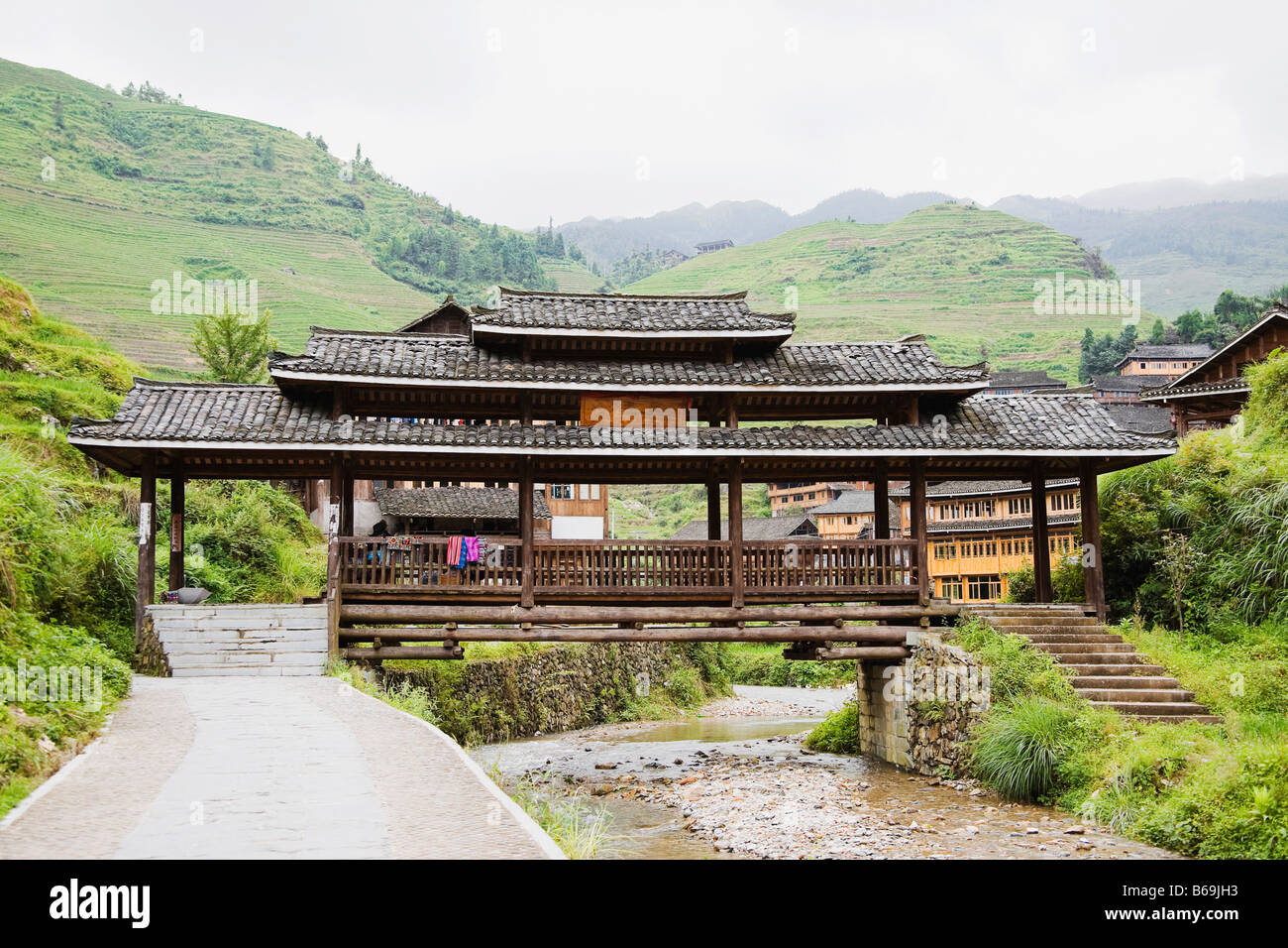 Houses in a village, Jinkeng Terraced Field, Guangxi Province, China - Stock Image