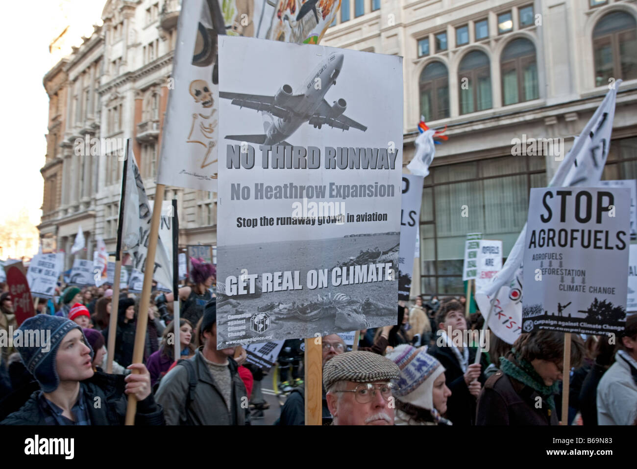 Campaigners on Climate Change March with No Third Runway Heathrow banner London December 2008 UK - Stock Image