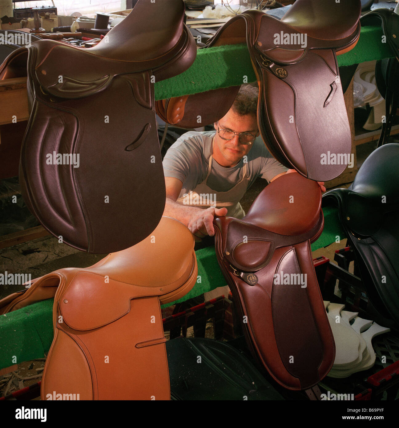 English Saddle Maker Walsall UK - Stock Image