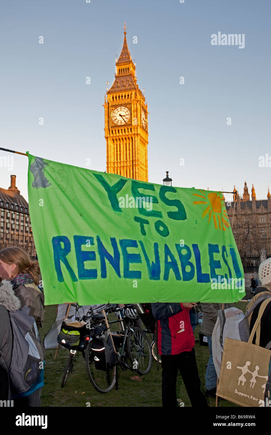 Campaigners with Yes to renewables banner on Climate Change March London December 2008 UK - Stock Image