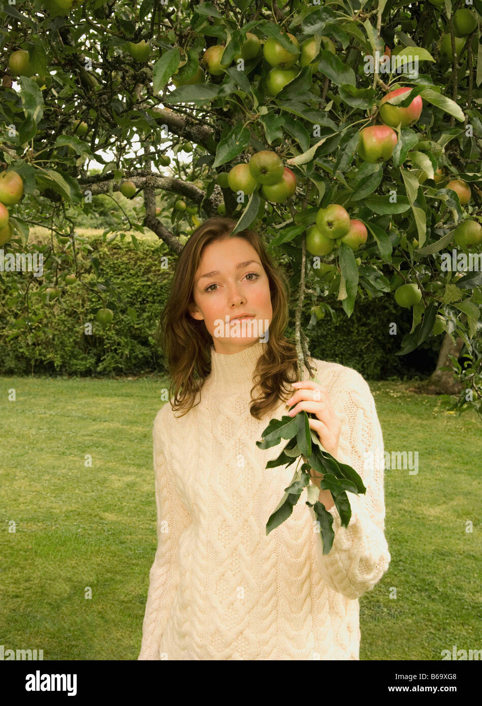 A young female under an apple tree - Stock Image