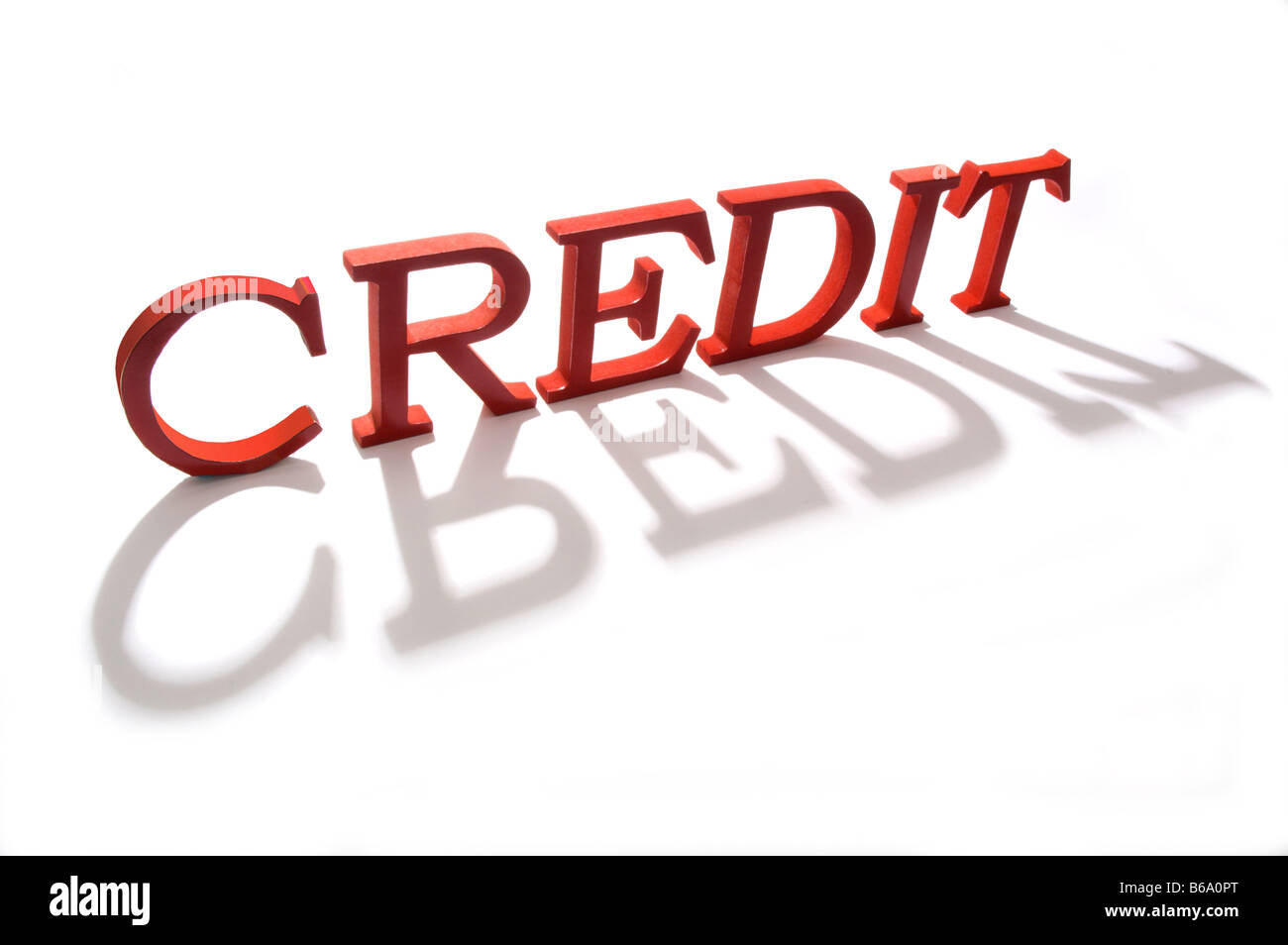 The word credit in red - Stock Image