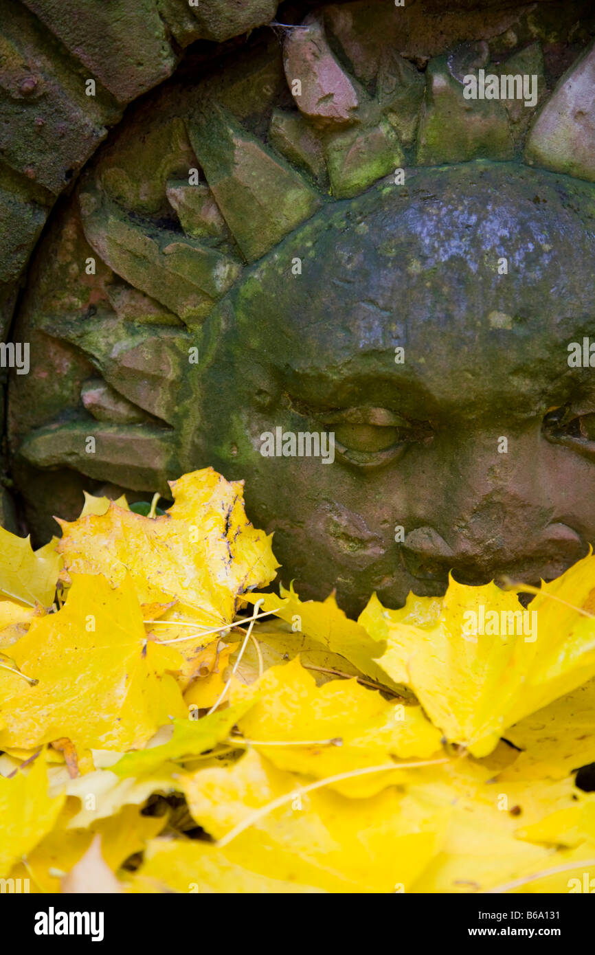 Garden feature and yellow Autumnal leaves - Stock Image